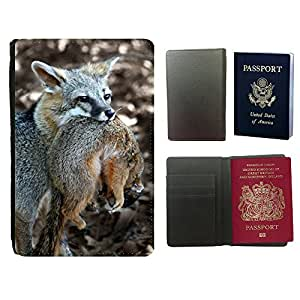 Super Stella PU Leather Travel Passport Wallet Case Cover // M00146827 Fox Squirrel Hunting Wild Animal // Universal passport leather cover
