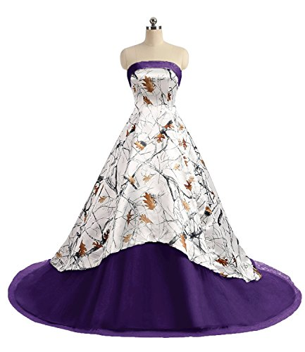 APXPF Women's Camo Printed Wedding Dress Tulle Ball Gown Prom Party Quinceanera Dress Purple US16]()