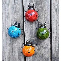 GIFTME 5 Metal Garden Wall Art Decorative Set of 4 Cute Ladybugs Outdoor Wall Sculptures