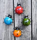GIFTME 5 Metal Garden Wall Art Decorative Set of 4 Cute Ladybugs Outdoor