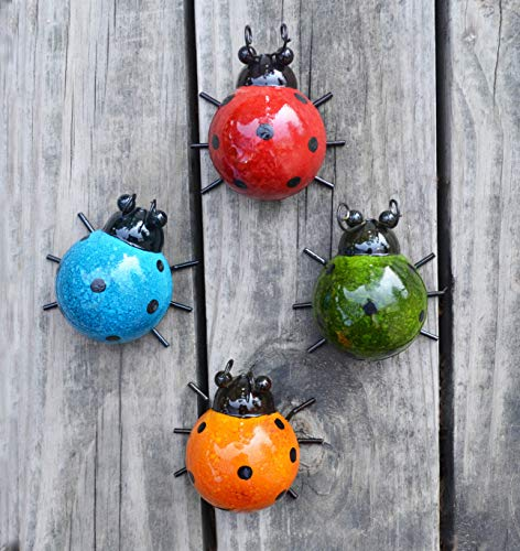 Flower Yard Decor - GIFTME 5 Metal Garden Wall Art Decorative Set of 4 Cute Ladybugs Outdoor Wall Sculptures