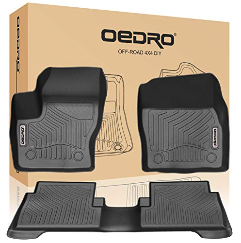 oEdRo Floor Mats Fit for 2015-2019 Ford Escape, Unique Black TPE All-Weather Guard Includes 1st and 2nd Row: Front, Rear, Full Set Liners