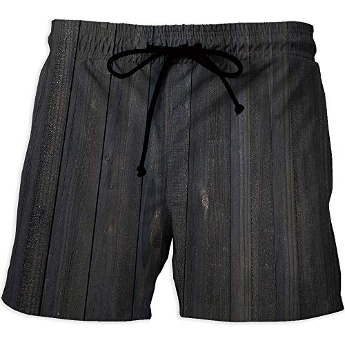 Men's Fitted Casual Shorts and Quick-Drying Sports Pants,Dark GreyRunning Surfing Shorts with LiningWood Fence Texture Image Rough Rustic Weathered Surface Timber Oak Planks Decorative