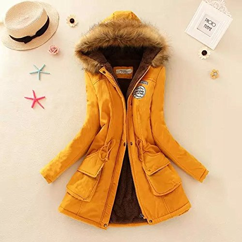 Long Solid Zipper Yellow Coat sleeve Elastic Warm Hat Jacket Pocket DYF Ginger Color E4Oq0