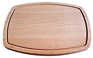 Natural Wood Cutting and Chopping Board Large with Groove - 15 x 11 Inches,3/4 Inch Thick, Carving Board Topside has Drip Groove, Anti Bacterial & Non-slip Kitchen