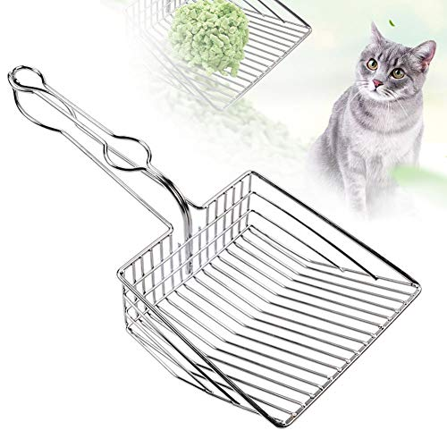 Cat Litter Scoop, Durable Metal Pet Kitty Kitten Sifter Heavy Duty with Long Handle Pet Kitty Dog Pooper Scooper, Easily Clean Litter Box