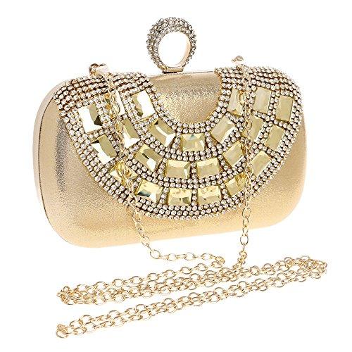 Las Mujeres Diamond Evening Bag Rhinestone Crystal Bling Embrague Monedero Bolsos para Banquete de Boda Fiesta de Graduación Oro