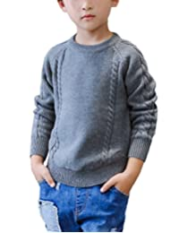 MFrannie Boys Cable Knit Stripe Long Sleeve Round Collar Solid Sweater