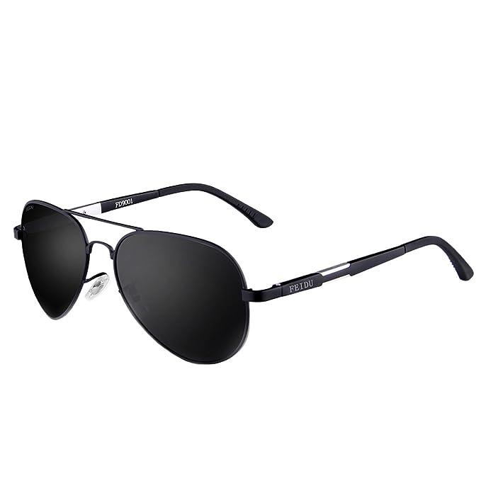 f280e6ea76 FEIDU Gafas de Sol Polarizadas Aviador Unisex FD 9001 (Negro/Negro, 58)
