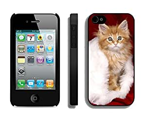 Customized Portfolio Christmas Cat On White Fur Black TPU Case For Iphone 4s,Apple Iphone 4 Case by icecream design