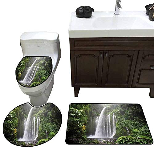 (Bath Rug Set Waterfall Exotic Rainforest with Waterfall in Indonesia Tropical Trees Adventure Picture Elongated Toilet Lid Cover Set Green White)