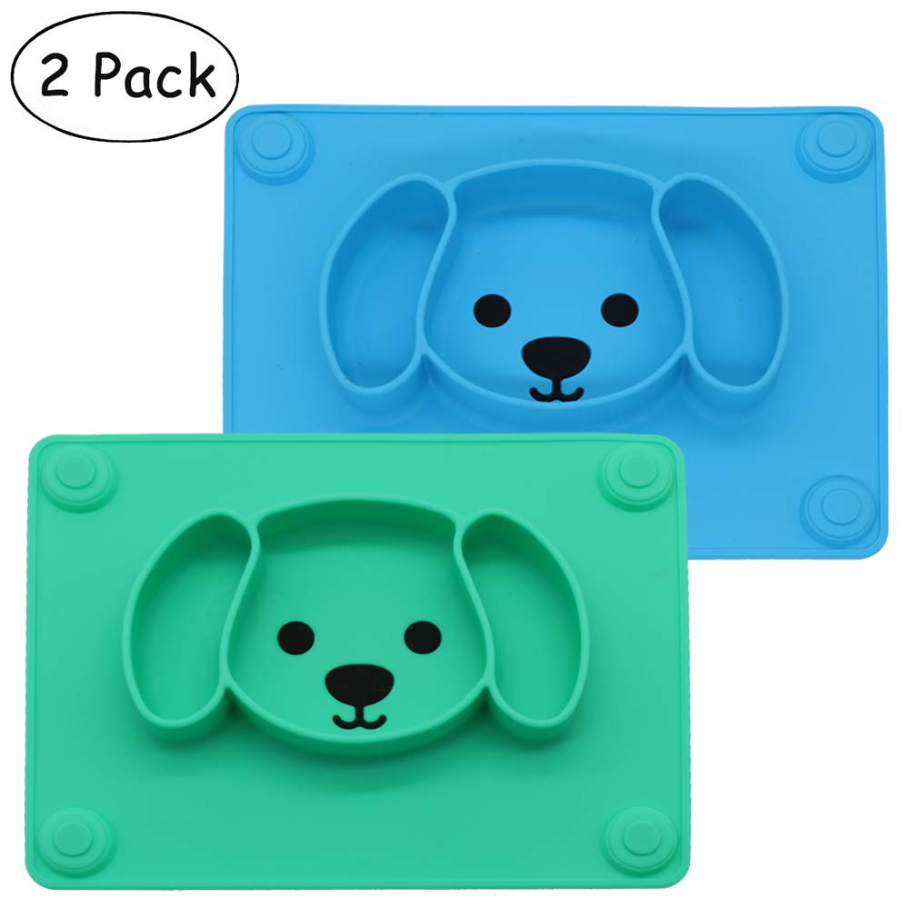 Baby Silicone Suction Placemat + Plates - Food Feeding Divided Mat for Kids and Toddlers Fits Most Highchair Trays - Easily Wipe Clean - Dishwasher and Microwave Safe (Blue & Green)