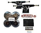 """VJ Skateshop Skateboard Combo 5"""" Trucks (Black) 52mm Skatebaord Wheels Abec 7 Bearings Spacer 3mm Riser Pads 1"""" Screws"""