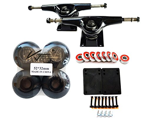 VJ Skateshop Skateboard Combo 5″ Trucks (Black) 52mm Skatebaord Wheels Abec 7 Bearings Spacer 3mm Riser Pads 1″ Screws – DiZiSports Store