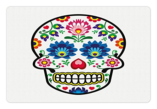 Ambesonne Sugar Skull Pet Mat for Food and Water, Polish Folkloric Art Style Mexican Sugar Skull Design Carnival Theme, Rectangle Non-Slip Rubber Mat for Dogs and Cats, Multicolor ()