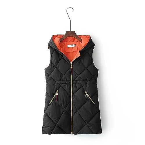 MEI&S La mujer chaleco sin mangas con Capucha Invierno Cotton-Padded Puffer abrigo largo ropa