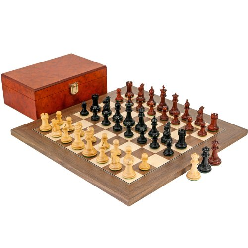 Madrid Tres Corone Ebony, Padouk and Walnut Chess (Madrid Walnut)