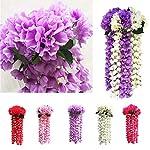 Mikilon-Artificial-Wisteria-Long-Hanging-Bush-Flowers-5-Stems-for-Home-Wedding-Restaurant-and-Office-Decoration-Arrangement-Lavender-Hot-Pink
