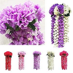Mikilon Artificial Wisteria Long Hanging Bush Flowers - 5 Stems for Home, Wedding, Restaurant and Office Decoration Arrangement, Lavender (Hot Pink) 2