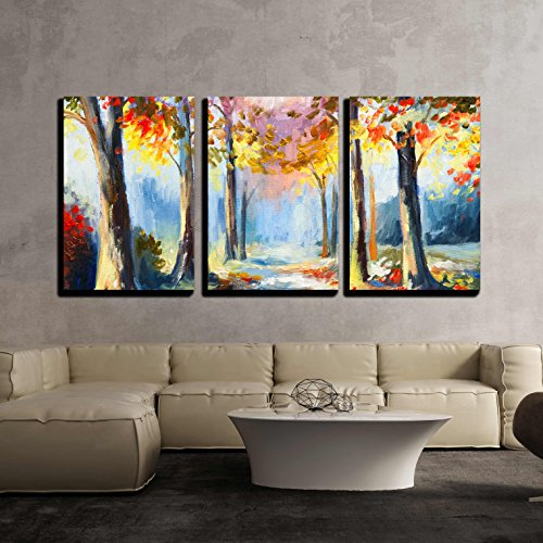 Abstract Landscape - wall26 - 3 Piece Canvas Wall Art - Oil Painting - Colorful Spring Landscape, Road in the Forest, Abstract Watercolor - Modern Home Decor Stretched and Framed Ready to Hang - 24