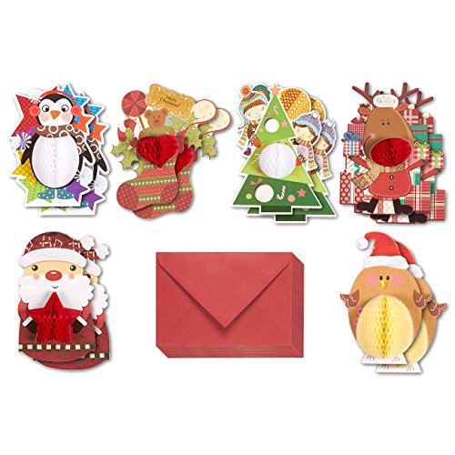 Set of 12 Merry Christmas Greeting Cards - Honeycomb Popup Cards with Penguin, Christmas Stocking, Christmas Tree, Rudolph the Reindeer, Santa and Chicken Themes - Includes Envelopes, Assorted Colors (Rudolph Penguin)