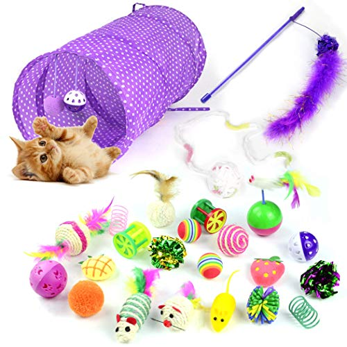 (Whoobee 24PCS Cat Toys Kitten Toys Assortments,Variety Pack for Catnip Toy, Cat Tunnel, Bell Crinkle Balls, Feather Wand, Cat Teaser Toy and Spring, Cat Toys Set for Cat, Puppy, Kitty, Kitten)
