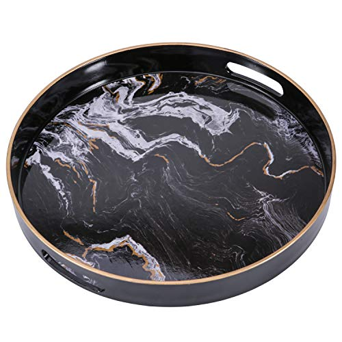 """Zosenley Round Decorative Tray, Marbling Plastic Tray with Handles, Modern Vanity Tray and Serving Tray for Ottoman, Coffee Table, Kitchen and Bathroom, Size 13"""", Black"""
