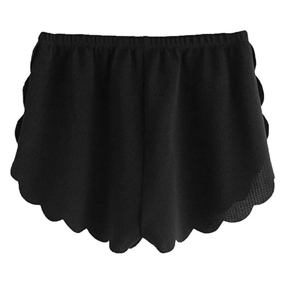 wodceeke Women Summer Beach Shorts, Loose Solid Elastic Waist Scalloped Casual Chiffon Shorts Pants (M, Black)