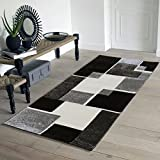Renzo Collection Easy Clean Stain and Fade Resistant Luxury Black Area Runner Rug for Living Room Bedroom Kitchen, Modern Geometric Space Design with Jute Backing (Size 2' x 5' Feet)