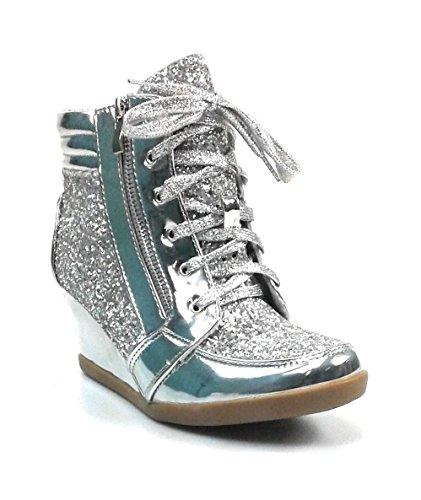 Per Sempre Collegano Le Scarpe Da Donna Glitter Fashion (7, Argento Peggy-44)