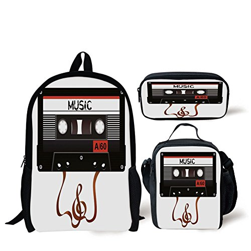 iPrint School Lunch Pen Bags,70s Party Decorations,Broken Analogue Audio Cassette Music Playing Record Technology,Black White Gold,3 Piece Set ()