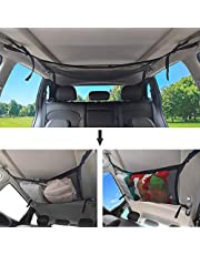 Holiberty Car Ceiling Cargo Net Pocket Interior Overhead Roof Top Bag Polyester Hanging Sundries Storage Organizer Car Net for Jeep Van SUV Trunk