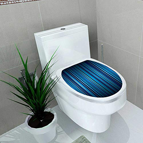 Auraise-home Bathroom Toilet Bright Blue Stripe Abstract with Ribbon Effect Vinyl Decal Sticker W13 x L18 ()