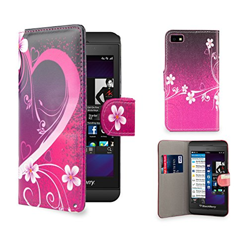 (32nd Design book wallet PU leather case cover for Blackberry Z10 + screen protector and cleaning cloth - Love Heart)