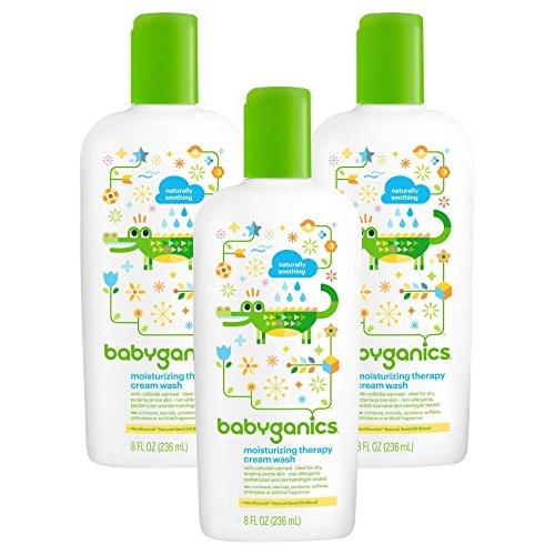 Babyganics Moisturizing Therapy Cream Wash, Fragrance Free 8 oz (Pack of 3)