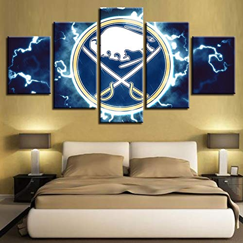 SHUII Wall Art Modular Pictures Painting Prints House Modern HD 5 Pieces Ice Hockey Sport Canvas Home Decoration Poster Framed 30x40cm 30x60cm 30x80cm