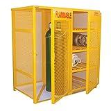 Vestil CYL-H8-V510 Steel Horizontal and Vertical Cylinder Cabinet, 8 Horizontal 10 Vertical, Yellow