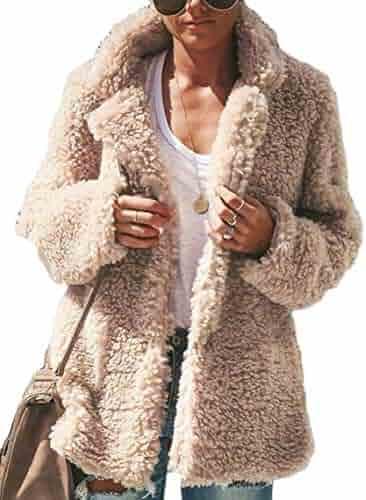 Jmwss QD Womens Fuzzy Fleece Casual Soft Loose Sweatshirt Hoodie Jacket Coat