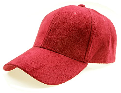 f956c5ad45abd5 Galleon - RufNTop Classic Faux Leather Suede Adjustable Plain Baseball Cap( RED OS)
