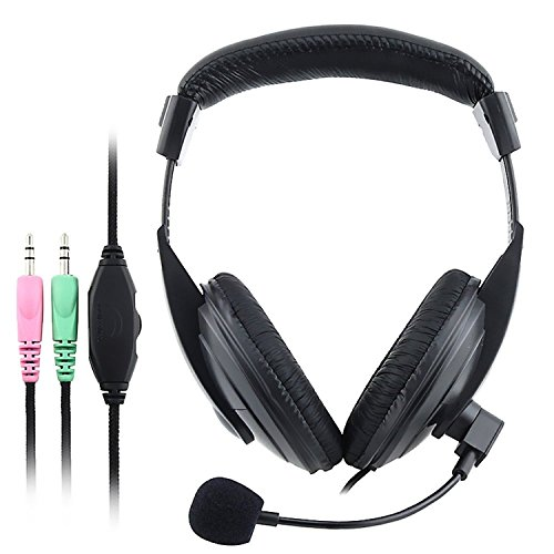 Audio Pc Overhead (Theo&Cleo 3.5mm Audio Output Black Overhead Headset With Mic For Computer DVD Player)