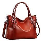 Heshe Womens Genuinne Leather Handbags Tote Top Handle Bag Shoulder Bag for Women Crossbody Bags Ladies Designer Purse (LMaroon)