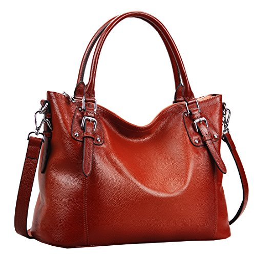 Heshe Womens Genuinne Leather Handbags Tote Top Handle Bag Shoulder Bag for Women Crossbody Bags Ladies Designer Purse (LMaroon)