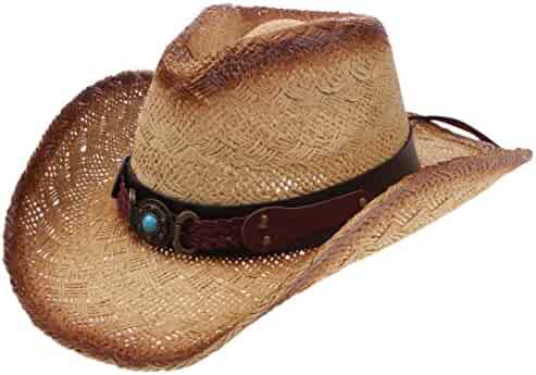 51847e32 Enimay Men's Womens's Western Outback Straw Canvas Outdoor Cowboy Hat