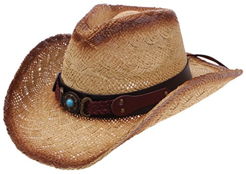 (Enimay Outdoor Men's Womens's Western Outback Straw Canvas Cowboy Hat Stone Brown One Size)
