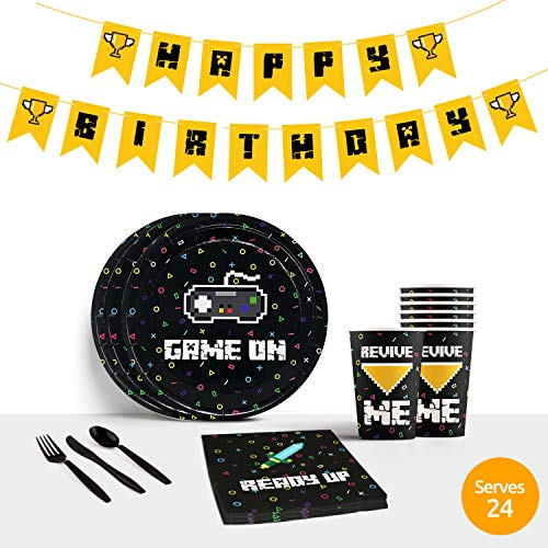 Video Game Party Supplies for Gaming Party | Gamer Party Supplies for Boys, Boys Birthday Party Supplies Decorations Favors | Includes Plates Cups Napkins Utensils Happy Birthday Banner | Serves 24 -
