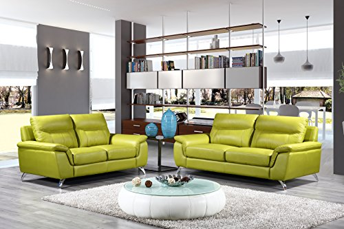 Cortesi Home Chicago Genuine Leather Sofa & Loveseat Set, Green