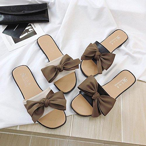 Nuevo Zapatos Plano A Salvaje Mujer de Palabra Fondo Sandalias Mujer Cómodo Playa Arco Verano Zapatillas Salvaje Dulce ITTXTTI Sandalias de de wRvYXX