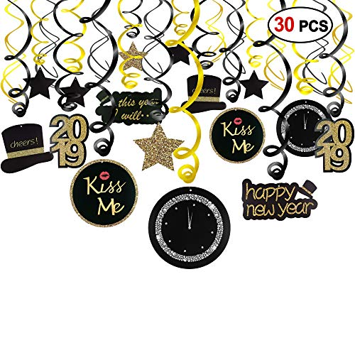 Konsait 2019 New Year Hanging Swirls Garland with Celebration Card Black & Gold (30pcs), Happy New Year Party Decorations New Years Eve Party Favors Supplies,Already Assembled