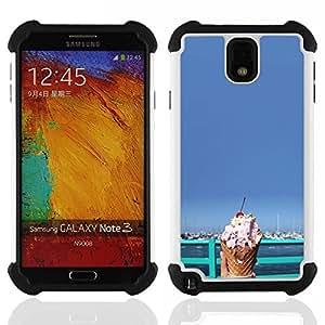 /Skull Market/ - Ice Cream Summer For Samsung Galaxy Note3 N9000 N9008V N9009 - 3in1 h????brido prueba de choques de impacto resistente goma Combo pesada cubierta de la caja protec -