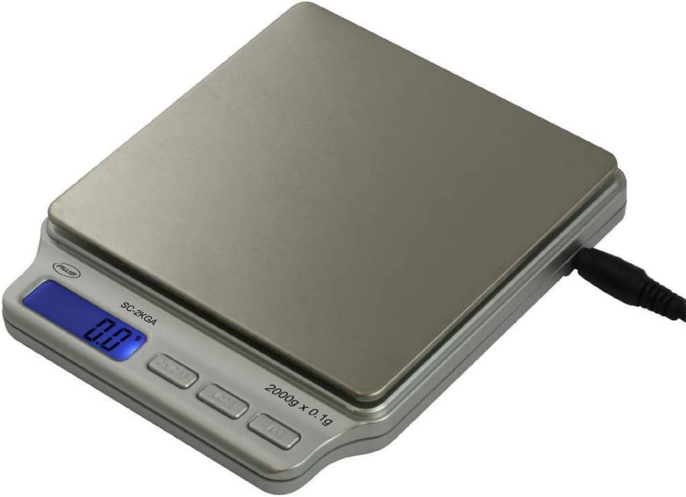 American Weigh Scales SC Series Precision Digital Food Kitchen Weight Scale, Silver, 2000 x 0.1G (SC-2KG-A)